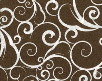 BTHY - Scrolling by Quilter's Showcase, White Flowing Scrolls on a Brown Background, by the HALF Yard