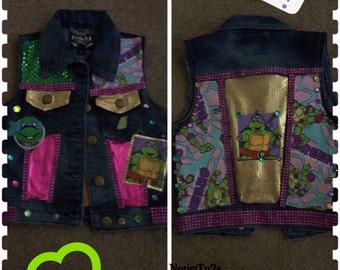 Ninja turtle inspired girls custom vest