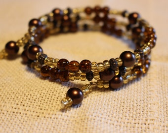 Brown and Gold Spiral Wrapped Bracelet