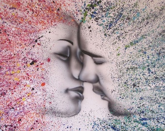 """ART, Painting, Colorful Couple, Original Airbrush and acrylic painting on canvas,  by Tomer Sharabani """"39 """"60 (100X150 cm)"""