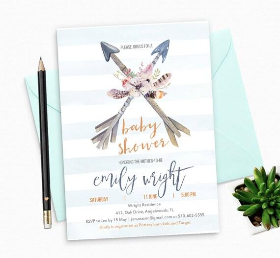 Printable Baby Shower Invitation for Boy - Boho Arrows Printable Baby Boy Shower Invitation