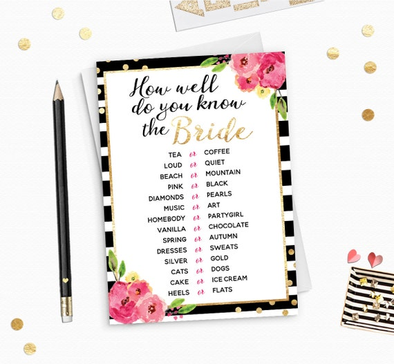 How Well Do You Know The Bride This Or That Black Stripes