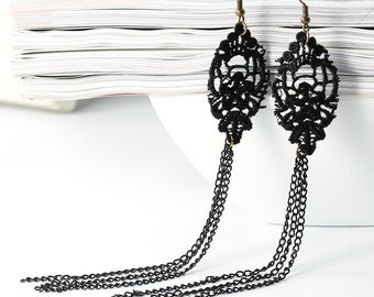 Earrings Black Lace with 3 channels