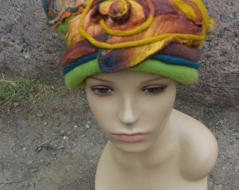 Hand painted green and brown hat