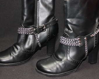 Ladies Leather and Multi Chain Boot Straps Pair (2) Spike Heels, Goth, Rock, Metal, Biker, BDSM, Club Wear, Boot Jewelry B6