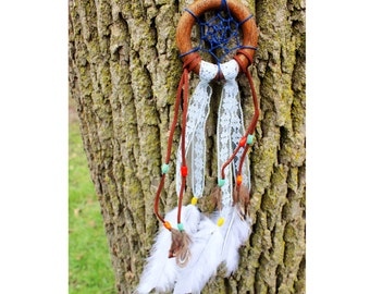 Small Wooden Dream Catcher Blue **FREE U.S. SHIPPING**
