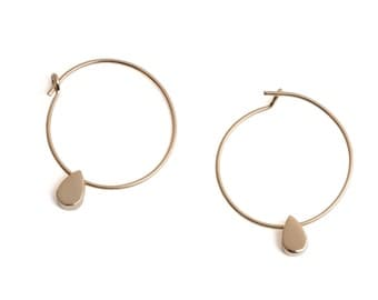 Small hoops drops, gold plated