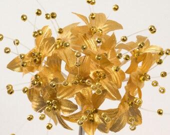 Gold Babies Breath Gypsophila Pearl Flower - Card Favour Craft Embellishment