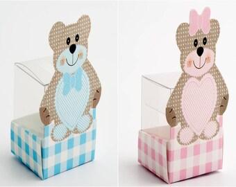 DIY Baby Favour Box Teddy Bear - Blue - Pink - Shower - Christening - 4cm Transparent Cube Insert