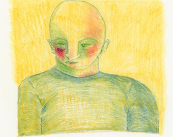 Figure in colored pencil & watercolor, hand-drawn, giclee print.