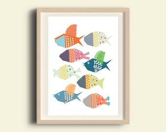 Digital download nursery art, printable nursery wall art, kids art, sea nursery print, fish Print, Baby Animal Art Print, Kids Decor, A3