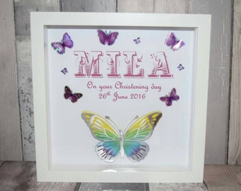 Personalised girls name- any colour scheme & text. Christening/ baby