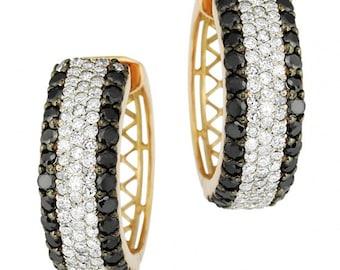 14k Gold Hoop Earrings, Diamond Earrings, Fashionable Earrings