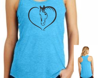 Horse Heart Tank Top Ladies Shirt for Horsewomen Lovers of Horses  print buyTrina