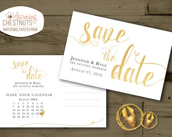 White and Gold Save The Date Postcard, classic gold, DIY wedding, printable save the date, postcard save the date, black and gold wedding