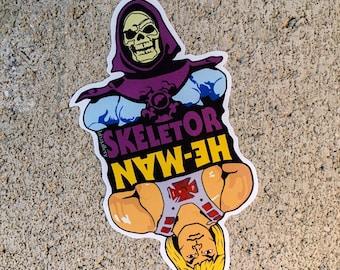 "He Man Skeletor Flip Contour Cut 4"" Vinyl Sticker"