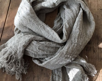 Linen Scarf, Rustic Shawl, Linen Shawl, Extra long scarf, Pure linen scarf, Frayed Edges, Taupe scarf, Natural Scarf, Taupe Grey Brown