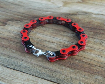 Upcycled Bike Chain Bracelet-Red and Black