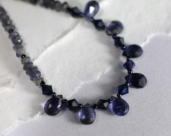 Iolite gemstone necklace