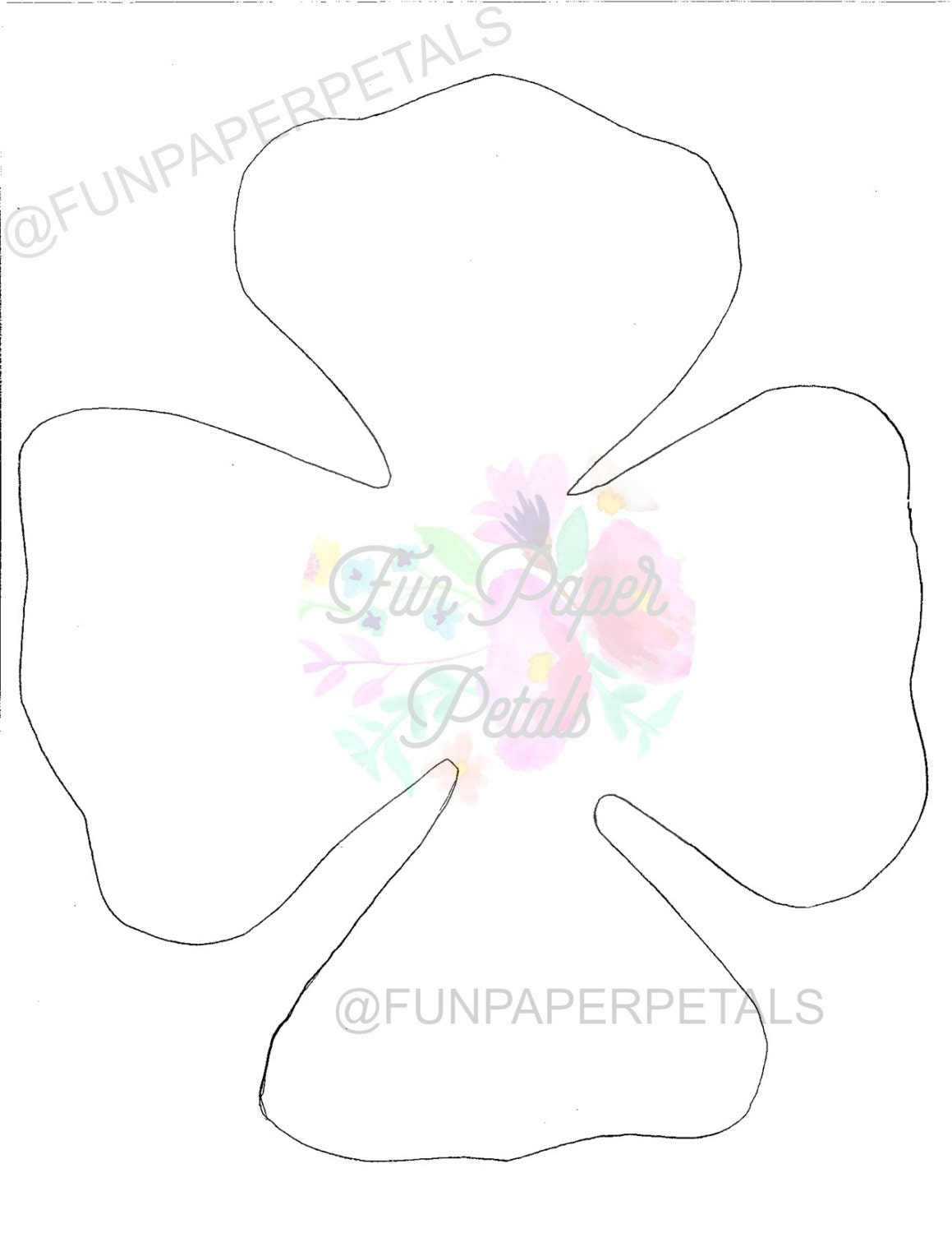 Paper flower printable flower template flower template paper flower flower wall printable paper for Paper roses template