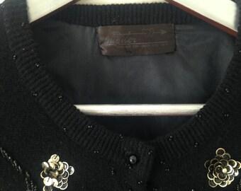Black Cardigan, Embellished Cardigan, Vintage Cardigan 12-14