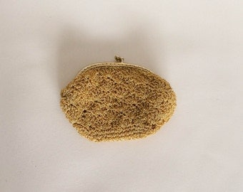 1960s Small Coin Purse Gold Woven Vintage
