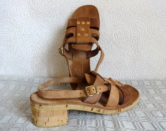 Brown Real Leather Sandals Chunky Heel Shoes Women Shoes Cork Sole Open Toe Sandals Open Heel 42 EUR Size Adjustable Strape Metal Elements