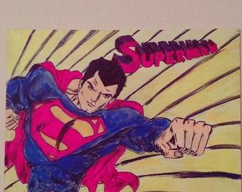 Superman comic painting