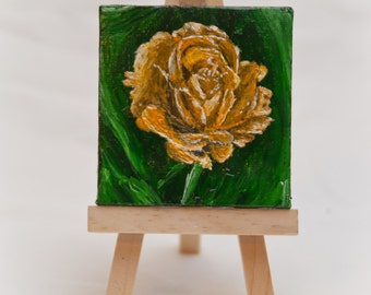 Yellow Rose Mini Painting