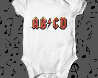 ABCD AC/DC baby bodysuit | funny baby bodysuit | cute baby bodysuit | Music Parody Baby Bodysuit | baby shower gift | rock baby clothes