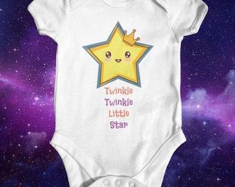 Twinkle twinkle little star Baby Bodysuit | Baby Shower Gift | Cute Baby Clothes | Funny Baby Bodysuit | Nursery Rhyme Bodysuit | Newborn