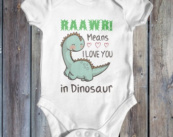 Rawwr means I love you in dinosaur baby bodysuit | cute baby clothes | funny baby bodysuit | baby shower gift | newborn baby clothes |