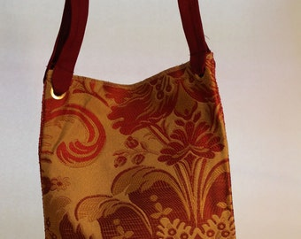 Large Bag in Gold and Rust Tones Floral Pattern Item #B39