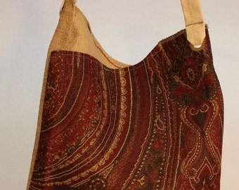 Large Fabric Bag in Paisley Print Item #B59