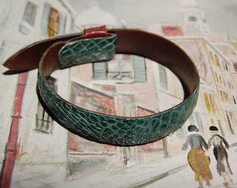 Sea-foam Green Alligator and Italian Leather Bracelet, genuine, alligator, bracelet, leather