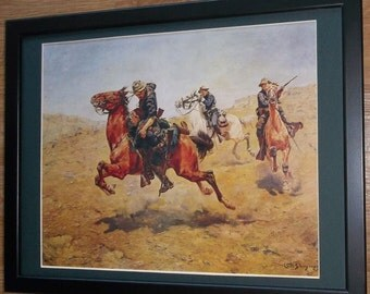 Mounted and framed print, 12''x16'' framed, My Bunkie by Charles Schreyvogel