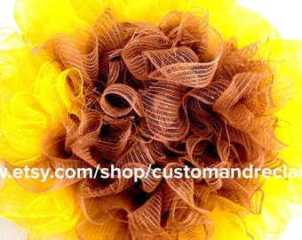 Sunflower Wreath, Deco Mesh Wreath, Door Wreath, Custom Wreath