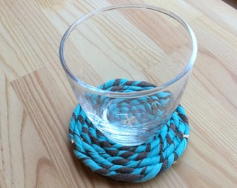 Recycled tshirts coaster Blue and Gray