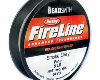 FireLine Beading Cord 4lb, 6lb or 8lb Smoke Grey - 50 yards