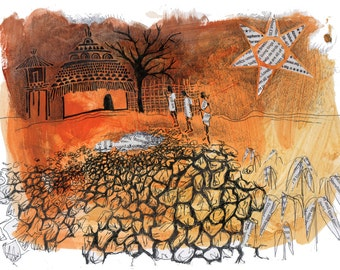 African Folktale Illustration / Art Print and Story (Buy Kingdom with Wisdom. A story from Renk, South Sudan)