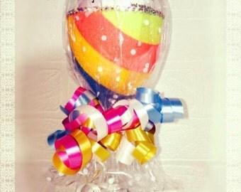Rainbow Design Single Glitter Wine Glass