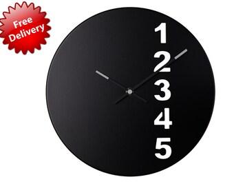 number wall clock,number clock art,30cm clock,unique black clock,black wal clock,minimalist clock,simple modern clock,scandinavian clock