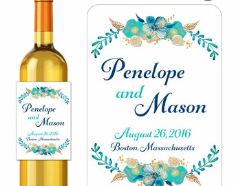 Custom Wedding Wine Labels Personalized Delicate Teal and Gold Watercolor Flower Bouquets Designer Labels Waterproof Vinyl 3.5 x 5 inch