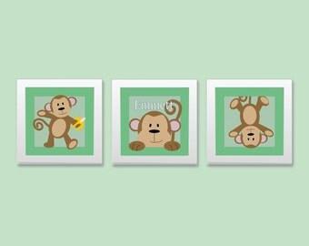 Set of Three Monkey Nursery Prints