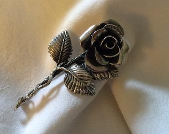 Sterling Silver Rose Stem Brooch