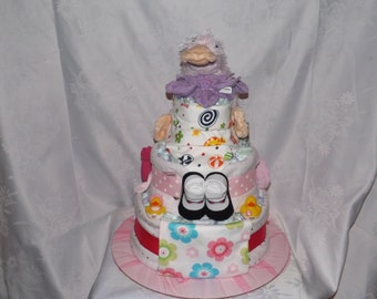 Diaper cake, Baby shower gift, Girl theme, 3 tier