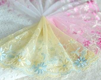 "5 yard 17cm 6.69"" wide pink/hot pink/yellow mesh embroidery lace trim ribbon L22K434 free ship"