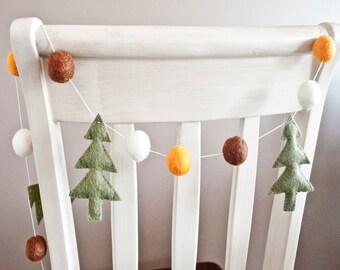 Woodland Tree and Felt Ball Garland: Woodland Theme Nursery Decor