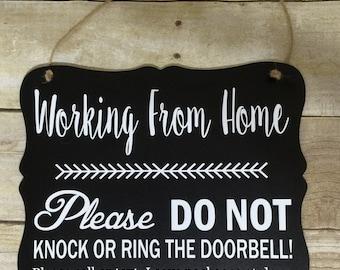 Working from Home Door Hanger/Sign
