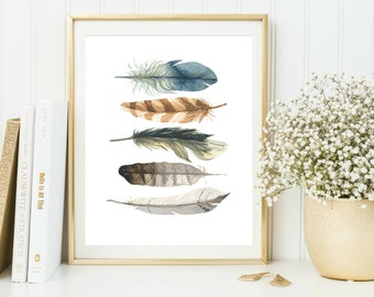 Printable Feathers Wall Art, Feathers Printable, Tribal Wall Art, Watercolor Feathers, Boho Wall Print, Tribal Wall Decor Instant Download